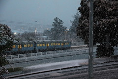 Ganz Mavag units in snow at Redwood, 14 Aug 2011 (AA654) Tags: winter newzealand snow station electric train suburban nz wellington emu redwood ganz mavag