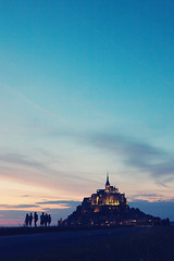 [Free Image] Architecture / Building, Church / Catedral / Mosque, Sunset, Mont Saint-Michel, World Heritage, France, 201108181900