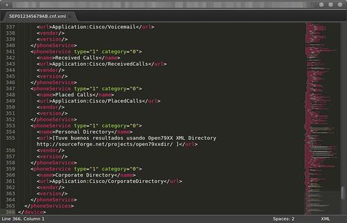 Cisco 9951 archivo de configuración XML