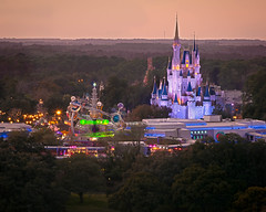 Science Fiction and Fairy Tales (Peter E. Lee) Tags: trees winter orlando twilight florida dusk disney fl wdw waltdisneyworld magickingdom goldenhour bigthundermountain dvc contemporaryresort astroorbiter cinderellacastle 2011 disneyvacationclub baylaketower topoftheworldlounge