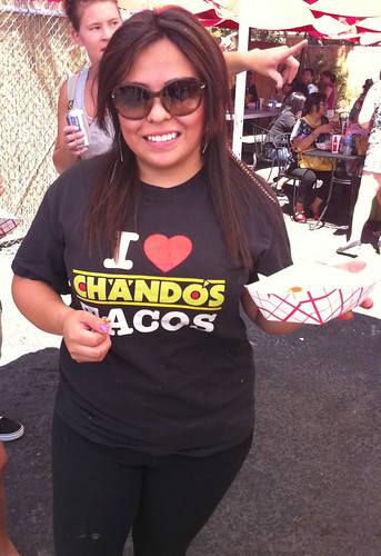 One of the many happy workers @ Chando's Tacos, Sacramento