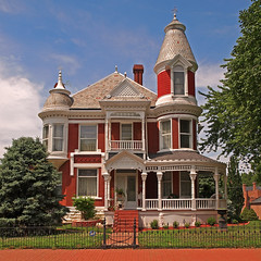 Harry Potter's House in America (FotoEdge) Tags: house english home america wizard lexington bricks towers wroughtiron 19thcentury victorian gingerbread harry harrypotter olympus haunted muse mo missouri porch lex clapboard turrets potters brooms oly e5 fotoedge lexmuse