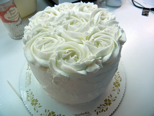 cake with piped roses