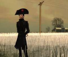 And you thought all he wore was a tophat :) (Hitomi Mokusei) Tags: train farm avatar farmland sl secondlife wheatfield virtualworld amradio funnymoments dreamworldnorth thefaraway bicornehat napoleonichat
