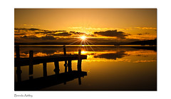 On a Golden Pond (liipgloss) Tags: sunset cloud lake jetty lakemacquarie squidsink