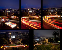 5 Images for Collage (karissa_lynne) Tags: bridge blue light red sky tower car st collage night speed honda lights bay photo san francisco long time large trails photographs montage shutter civic coit grids combined lumbar joiners