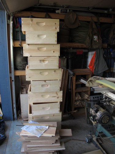 Pile o' boxes for the new hives