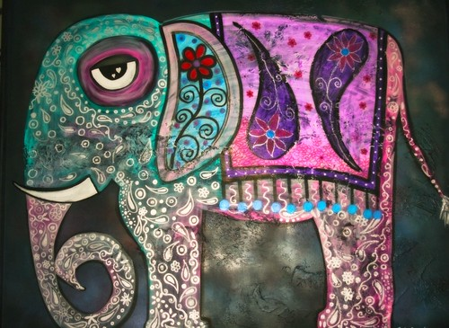 Elephant Canvas 3' x 4' by Rick Cheadle Art and Designs