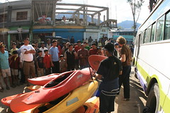 unloading the bus at Seppa on the way to the Kameng river Adventure rafting and Kayaking trip
