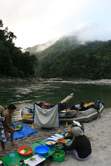 Breakfast prep on the Kameng river Adventure rafting and Kayaking trip
