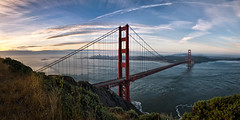 Golden Gate Panorama (Sebastian (sibbiblue)) Tags: sanfrancisco morning panorama usa skyline sunrise tripod goldengatebridge photomerge nikkor marinheadlands 18105 conzelmanroad nikond7000 nikhdrefex