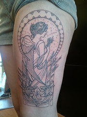 Started this Virgo tattoo today... (Shannon Archuleta) Tags: tattoo san francisco lily wheat goddess tattoos artnouveau lilies mucha virgo constellation angelwings shannonarchuleta
