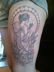 Started this Virgo tattoo today... (Shannon Archuleta) Tags: tattoo san francisco lily wheat goddess tattoos artnouveau lilies mucha virgo constellation angelwings shannonarchuleta