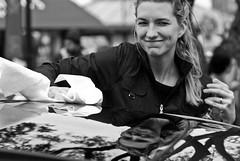 The polisher (Keoki Seu) Tags: sanfrancisco california woman usa reflection car us unitedstates unitedstatesofamerica buff sfist ghirardellisquare sanfranciscocounty