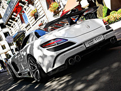 Mercedes Benz SLS FAB Design Gullstream 'Explored' (Niklas Emmerich Photography) Tags: summer fab white black paris france car mercedes benz design july v arab plates carbon avenue v8 sls montaigne biturbo 2011 hypercar quatari gullstream worldcars