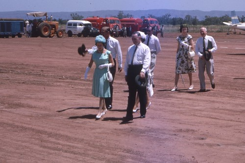 1963-03-17 Royal Tour Queen with WA Premier David Brand at Kununurra Airstrip - KHS-2011-31-120-2.45-P2-D