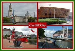 Greetings from Cardiff! (Jainbow) Tags: city river hall stadium postcard centre cardiff millennium taff lightship jainbow