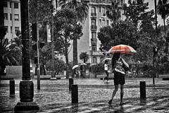Red Unbrella (Alex Bruce Photo) Tags: street red bw france rain umbrella nice selectivecolor