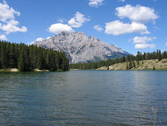 Johnson lake, Banff NP, Canada (Pixmac_at) Tags: wood trees summer sun canada mountains nature water sunshine weather clouds forest landscapes daylight rocks seasons horizon lakes bluesky nobody hills vegetation daytime summertime np nationalparks naturalworld castlemountain exteriors waterlevel mountainpeaks summits banffnp johnsonlake utdoors tipofthehills