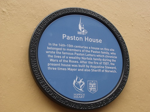 Discover Norwich blue plaque of Paston House