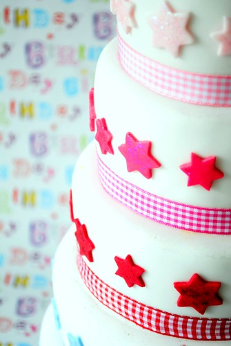 Glitter stars and gingham ribbon