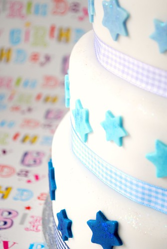 Blue glitter stars and gingham ribbon