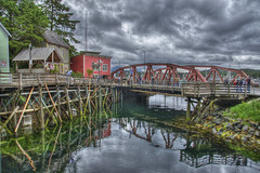 Ketchikan Creek Bridge & Creek Street (Thad Roan - Bridgepix) Tags: travel bridge cruise reflection building tourism water metal alaska clouds creek photo ship image princess steel picture overcast historic boardwalk quaint piling hdr ketchikan sapphire truss creekstreet bridgepix 201106 stedmanbridge