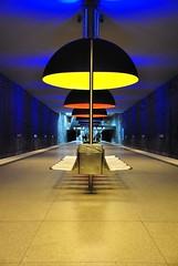 Westfriedhof Mnchen (stacheltierchen) Tags: travel blue light urban orange station yellow germany underground subway mnchen bavaria lampe nikon flickr metro tube railway gelb ubahn bahnsteig westfriedhof d3000