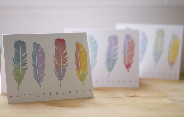 feather birthday cards