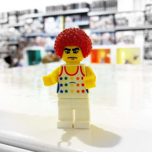 I got creative when building a Mini Fig at The Lego Store. Aren't you jealous of his hair?