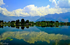 Reflection........................ (Rambonp:loves all creatures of this universe.) Tags: trees sky india lake mountains reflection water clouds canon kashmir srinagar incredibleindia naginlake canonedge