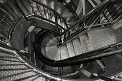 The spiral staircase to Liberty's crown (Belhaven2011) Tags: pictures street nyc usa newyork streets statue metal stairs silver spiral island photo nikon iron photos steel steps picture engineering step staircase crown inside 1855mm statueofliberty 1855 railing aluminium d5000 belhaven2011