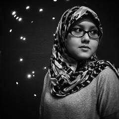 Little R (redsya manic) Tags: light bw girl night square star little bokeh hijab cctv 11 panasonic muslimah r malaysia format kualalumpur potrait dmc available 25mm manic bn2 tudung gf1 14 redsya cmount bokehlious ridhwanrazi