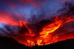 Glacier Fire Sunrise (jeremyjonkman) Tags: park red sky night canon fire photography eos montana mark jeremy glacier national ii 5d jonkman musictomyeyeslevel1