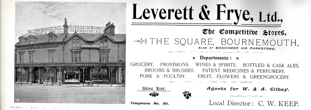 LEVERETT AND FRYE. EXETER RD / COMMERCIAL RD. THE SQUARE. BOURNEMOUTH. DORSET. 1899