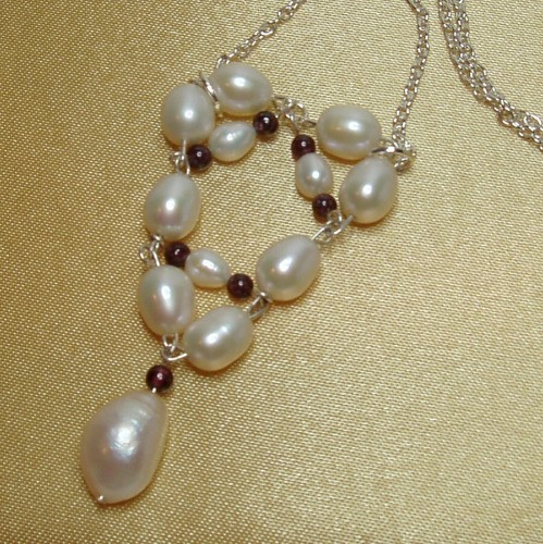 Sterling Silver Necklace-Pendant of FW Pearls & Garnets