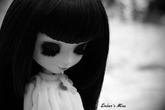 Mina monochrome (pure_embers) Tags: uk white black monochrome tattoo dark doll dolls eyelashes gothic mina modified pullip pinup embers obitsu ddalgi