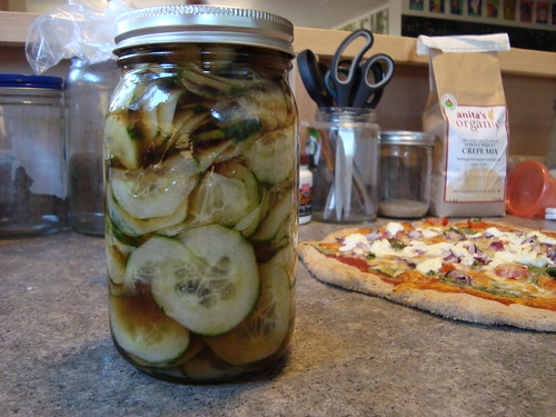 sweet and sour pickles and pizza