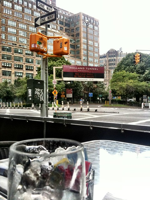 Only in NYC would I eat outside with a view of the Holland Tunnel