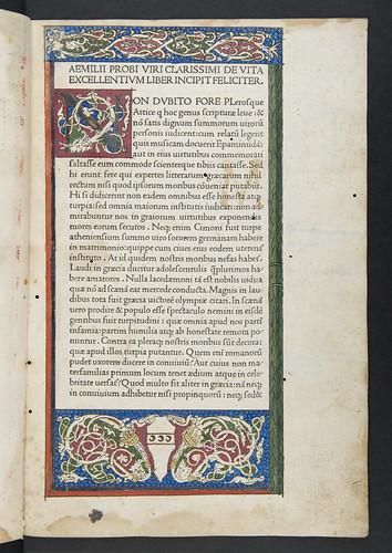 Decorated page from Cornelius Nepos: Vitae imperatorum, sive De vita illustrium virorum