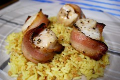 Scallops and Chicken (jnoriko) Tags: food chicken dinner bacon rice shellfish seafood scallop yummygoodness baconwrappedscallops seascallop ricepilaf baconwrappedchicken pepperbacon