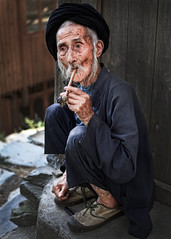 Village Elder (Helminadia Ranford(New York)) Tags: china old travel portrait village guilin elder years 97
