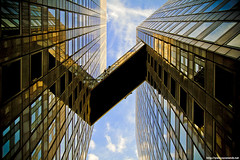 W (never ends) Tags: city blue sky paris france reflection building glass yellow architecture modern facade jaune buildings square gold mirror europa europe cityscape nanterre or w towers wide galerie