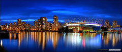 Vancouver's New Skyline (Clayton Perry Photoworks) Tags: panorama skyline night vancouver reflections lights stadium hdr bcplace