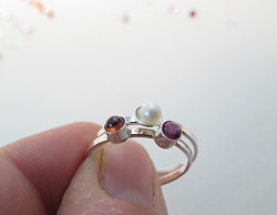 Fancy Birthstone ring Garnet Pearl Tourmaline
