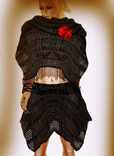 [Coming Soon] A&A Fashion Poncho Skirt Set Black
