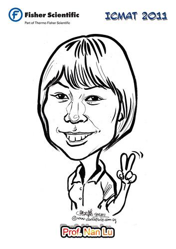Caricature for Fisher Scientific - Prof. Nan Lu