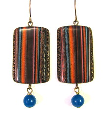 Scrap Clay Striped Earrings - Copper, Turquoise, Bronze with Blue Quartz Drops