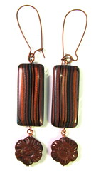 Scrap Clay Striped Earrings - Copper and Black with Carved Jasper Flower Drops
