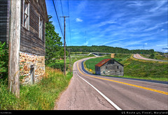 US Route 40, Finzel, Maryland (Cash Valley Photography & Imaging) Tags: bridge abandoned clouds barn corn telephone maryland bluesky farmland historic farms crops poles hdr highdynamicrange hdri garrettcounty finzel interstate68 i68 route40 nationalhighway nationalpike